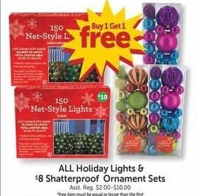 Freds Black Friday: All Holiday Lights & $8 Shatterproof Ornament Sets - B1G1 Free