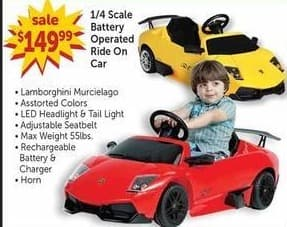 Freds Black Friday: 1/4 Scale Battery Operated Ride On Car for $149.99