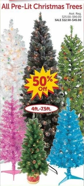 freds black friday all pre lit christmas trees 50 off. Black Bedroom Furniture Sets. Home Design Ideas