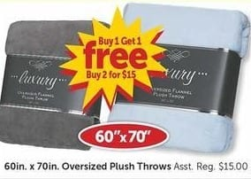 Freds Black Friday: Oversized Plush Throws 60in. x 70in. Asst. - B1G1 Free