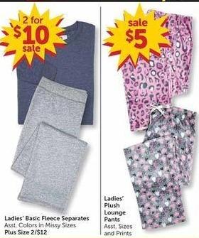 Freds Black Friday: Ladies' Plush Lounge Pants for $5.00