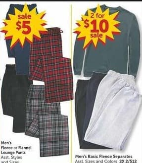 Freds Black Friday: Men's Fleece or Flannel Lounge Pants for $5.00