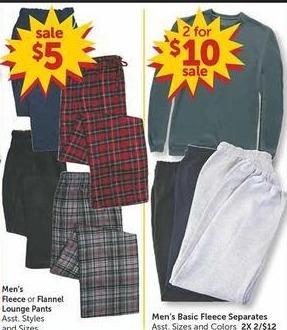 Freds Black Friday: (2) Men's Basic Fleece Separates for $10.00