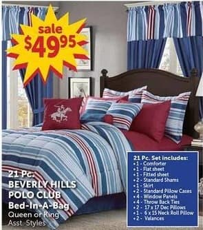 Freds Black Friday: Beverly Hills Polo Club Bed -In-A-Bag 21 Pc. Queen or King for $49.95