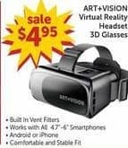 Freds Black Friday: Art+Vision Virtual Reality Headset 3D Glasses for $4.95