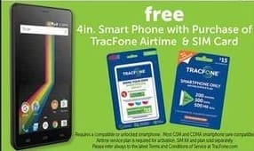 Freds Black Friday: Free 4in. Smart Phone w/ Purchase of TracFone Airtime & SIM Card - w/ Purchase