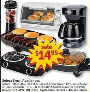 """Freds Black Friday: Select Small Appliances: Toastmaster 2 Slice Toaster, Broiler, 12"""" Electric Skillet and More for $14.95"""