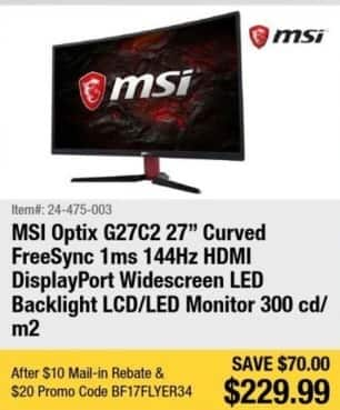 "Newegg Black Friday: MSI Optix G27C2 27"" Curved FreeSync 1ms 144Hz Widescreen LED Monitor for $229.99 after $10.00 rebate"