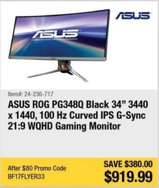 "Newegg Black Friday: Asus Rog PG348Q 34"" 3440 x1440, 100 Hz Curved IPS G-Sync Gaming Monitor for $919.99"