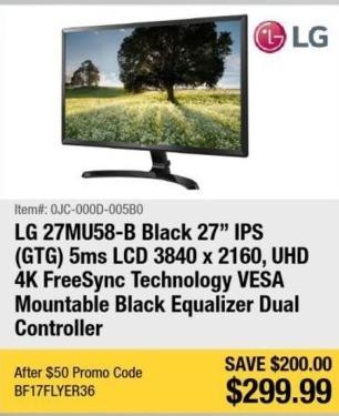 "Newegg Black Friday: LG 27MU58-B 27""  5ms 3840 x 2160 IPS Monitor for $299.99"
