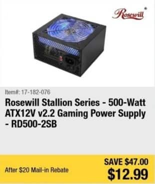 Newegg Black Friday: Rosewill Stallion Series 500-Watt ATX12V v2.2 Gaming Power Supply - RD500-2SB for $12.99 after $20.00 rebate