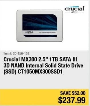 """Newegg Black Friday: Crucial MX300 2.5"""" 1TB SATA III 3D NAND Internal Solid State Drive for $237.99"""