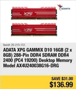 Newegg Black Friday: ADATA XPG Gammix D10 16GB (2 x 8GB) 288-Pin DDR4 SDRAM DDR4 2400 ( PC4 19200 ) Desktop Memory for $136.99