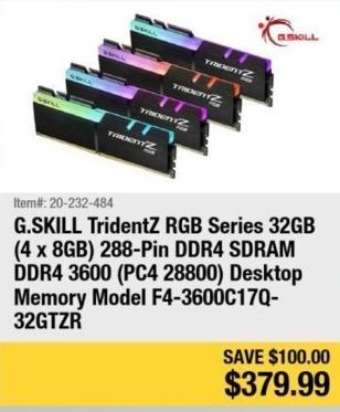 Newegg Black Friday: G.Skill TridentZ RGB Series 32GB ( 4 x 8GB ) 288-Pin DDR4 3600 (PC4 28800) Desktop Memory for $379.99