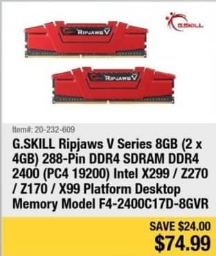 Newegg Black Friday: G.Skill Ripjaws V Series 8G ( 2 x 4GB ) 288-Pin DDR4 SDRAM DDR4 2400 ( PC4 19200 ) Intel for $74.99