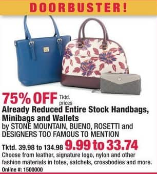 Boscov's Black Friday: Entire Stock Handbags, Minibags and Wallets Already Reduced - 75% Off
