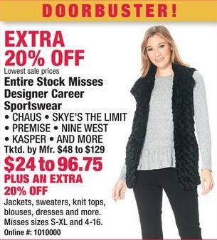 Boscov's Black Friday: Entire Stock of Misses Designer Career Sportswear - Extra 20% Off