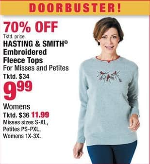 Boscov's Black Friday: Hasting & Smith Embroidered Fleece Tops for $9.99 - $11.99