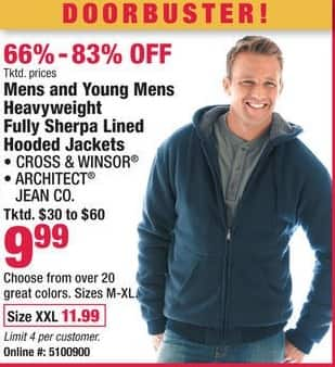 Boscov's Black Friday: Mens and Young Mens Heavyweight Sherpa Lined Hooded Jackets for $9.99 - $11.99