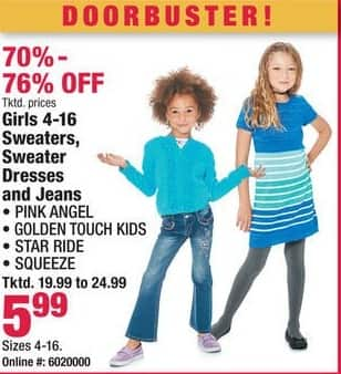 Boscov's Black Friday: Girls 4-16 Sweaters, Sweater Dresses and Jeans for $5.99