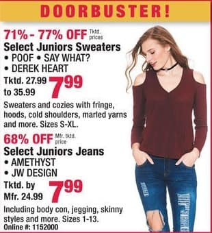 Boscov's Black Friday: Poof, Say What? and Derek Heart Juniors Sweaters for $7.99