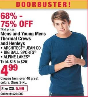 Boscov's Black Friday: Architect Jean Co., Big Ball Sports and Alpine Lakes Mens and Young Mens Thermal Crews and Henleys for $4.99 - $5.99