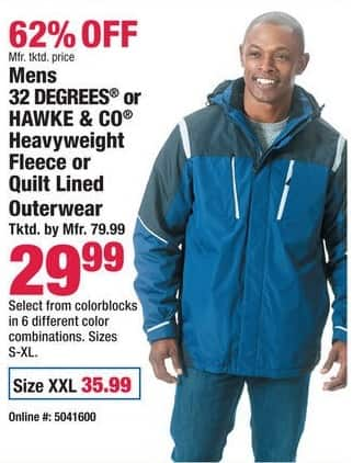 Boscov's Black Friday: Mens 32 Degrees or Hawke & Co. Heavyweight Fleece or Quilt Lined Outerwear for $29.99 - $35.99