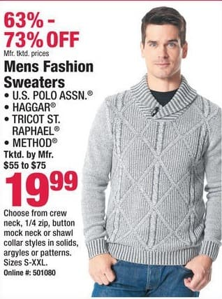 Boscov's Black Friday: Polo, Haggar, Tricot St. Raphael, and Method Mens Fashion Sweaters for $19.99