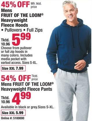 Boscov's Black Friday: Mens Fruit of the Loom Heavyweight Fleece Pants for $4.99 - $5.99