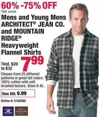 Boscov's Black Friday: Mens and Young Mens Architect Jean Co. and Mountain Ridge Heavyweight Flannel Shirts for $7.99 - $9.99