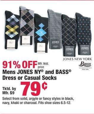 Boscov's Black Friday: Mens Jones NY and Bass Dress or Casual Socks for $0.79
