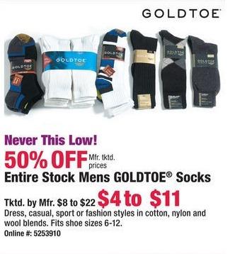Boscov's Black Friday: Entire Stock of Mens Goldtoe Socks - 50% Off