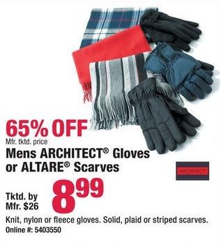 Boscov's Black Friday: Mens Architect Gloves or Altare Scarves for $8.99
