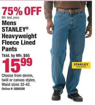 Boscov's Black Friday: Mens Stanley Heavyweight Fleece Lined Denim, Twill or Canvas Pants for $15.99