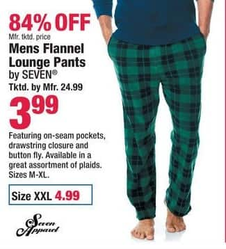 Boscov's Black Friday: Seven Mens Flannel Lounge Pants for $3.99 - $4.99