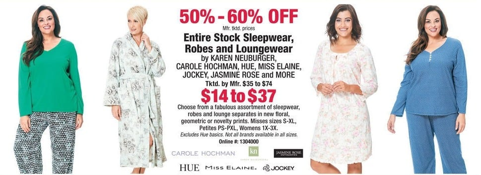 Boscov's Black Friday: Entire Stock of Sleepwear, Robes and Loungewear - 50 - 60% Off