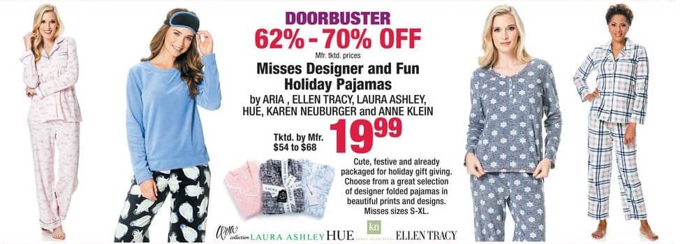 Boscov's Black Friday: Misses Designer and Fun Holiday Pajamas for $19.99