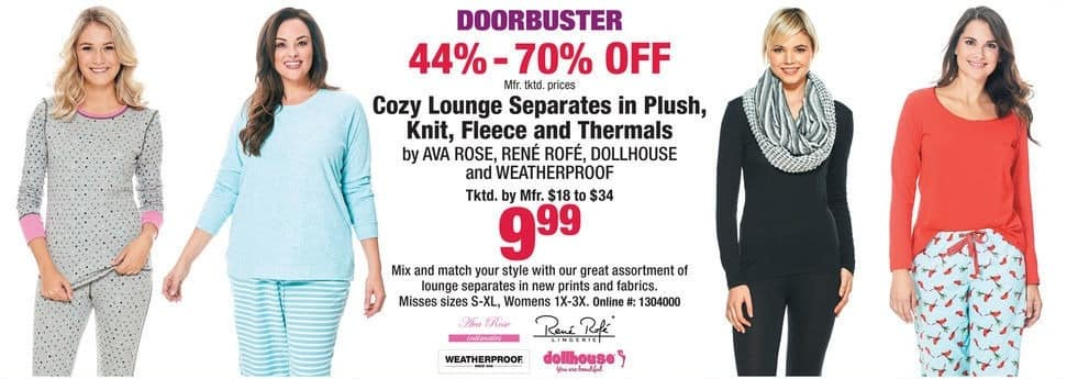 Boscov's Black Friday: Cozy Lounge Separates in Plush, Knit, Fleece and Thermals for $9.99
