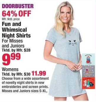 Boscov's Black Friday: Fun and Whimsical Night Shirts , Misses , Juniors and Womens for $9.99 - $11.99
