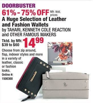 Boscov's Black Friday: Tahari, Kenneth Cole Reaction and Other Famous Maker Leather and Fashion Wallets for $14.99