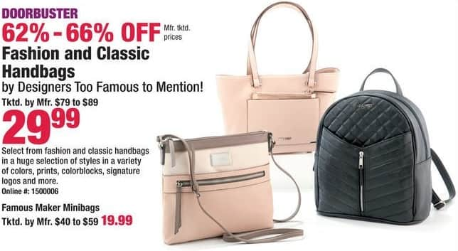 Boscov S Black Friday Select Fashion And Classic Handbags Or Minibags For 19 99 29