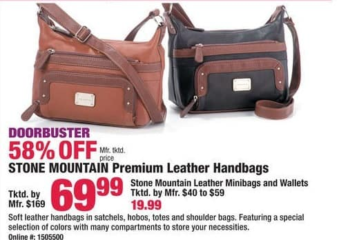 Boscov's Black Friday: Stone Mountain Leather Minibags and Wallets for $19.99