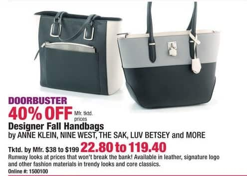Boscov's Black Friday: Anne Klein, Nine West, The Sak, Luv Betsey and More Designer Fall Handbags - 40% Off