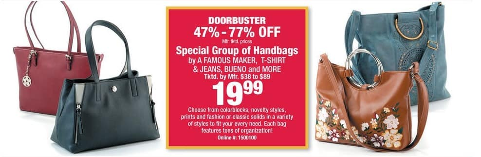 Boscov's Black Friday: T-Shirt & Jeans, Bueno and More Select Handbags for $19.99