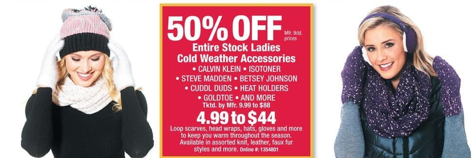 Boscov's Black Friday: Calvin Klein, Isotoner, Steve Madden, and MoreEntire Stock Ladies Cold Weather Accessories - 50% Off