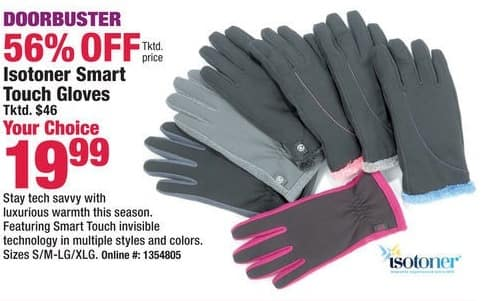 Boscov's Black Friday: Isotoner Smart Touch Gloves for $19.99