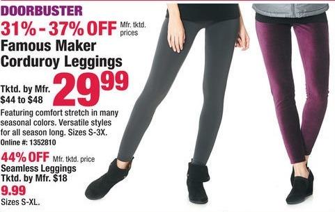 Boscov's Black Friday: Famous Maker Corduroy Leggings for $29.99