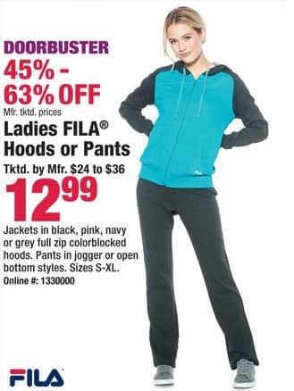 Boscov's Black Friday: Ladies Fila Hoodies or Pants for $12.99