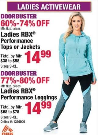 Boscov's Black Friday: Ladies RBX Performance Tops, Jackets or Leggings for $14.99