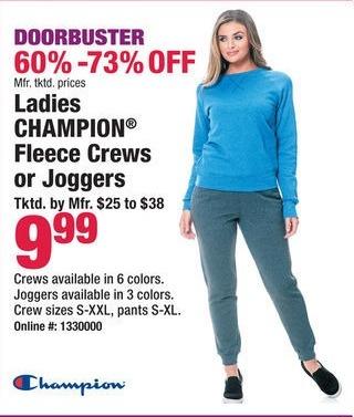 Boscov's Black Friday: Ladies Champion Fleece Crews or Joggers for $9.99